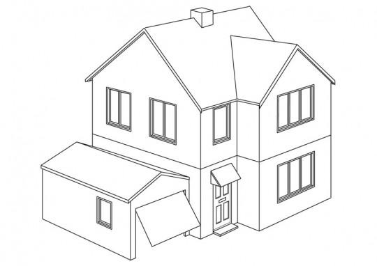 Casas para colorear imagenes para dibujar - Como pintar fachadas de casas ...