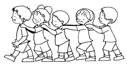 Niños trabajando en equipo para colorear - Imagui