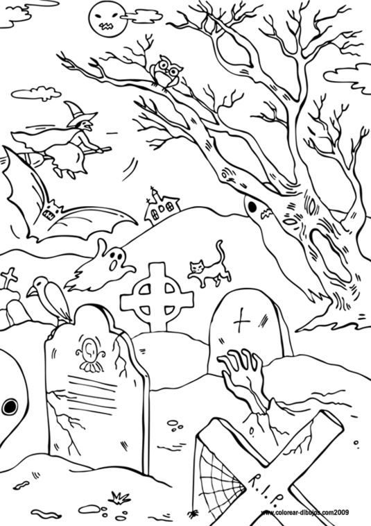 scary halloween tree coloring pages - photo#31