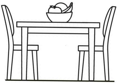 Mesa para colorear for Comedor facil de dibujar