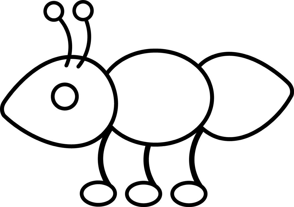 how to draw an ant for kindergarten