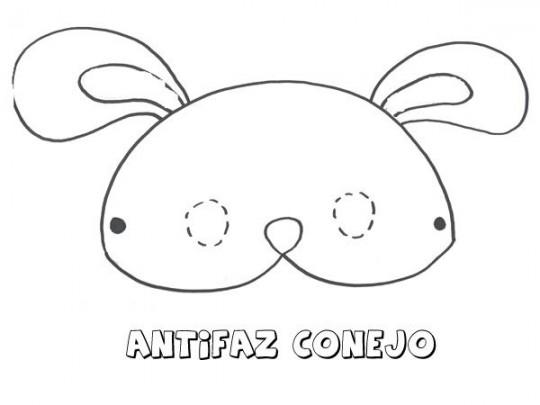 Conejo para colorear antifaz