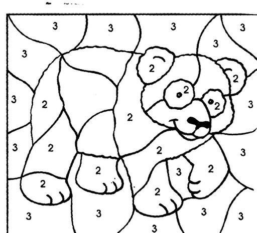 Fichas para colorear oso