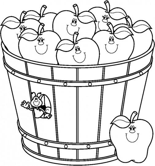 Dibujo De Manzana Para Colorear Cesta Con Manzanas Dibujo ...