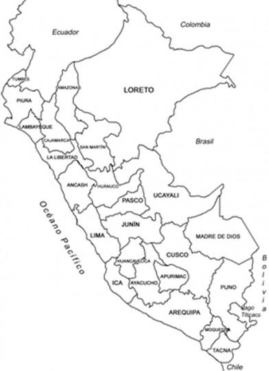 Mapa del peru para colorear