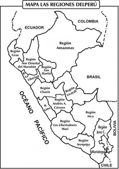 Mapa peru colorear