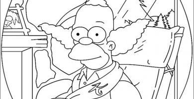 Payaso para colorear Krusty
